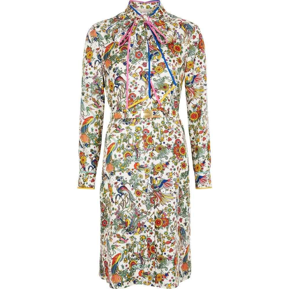 トリー バーチ Tory Burch レディース ワンピース シャツワンピース ワンピース・ドレス【Printed Silk-Twill Shirt Dress】Multi