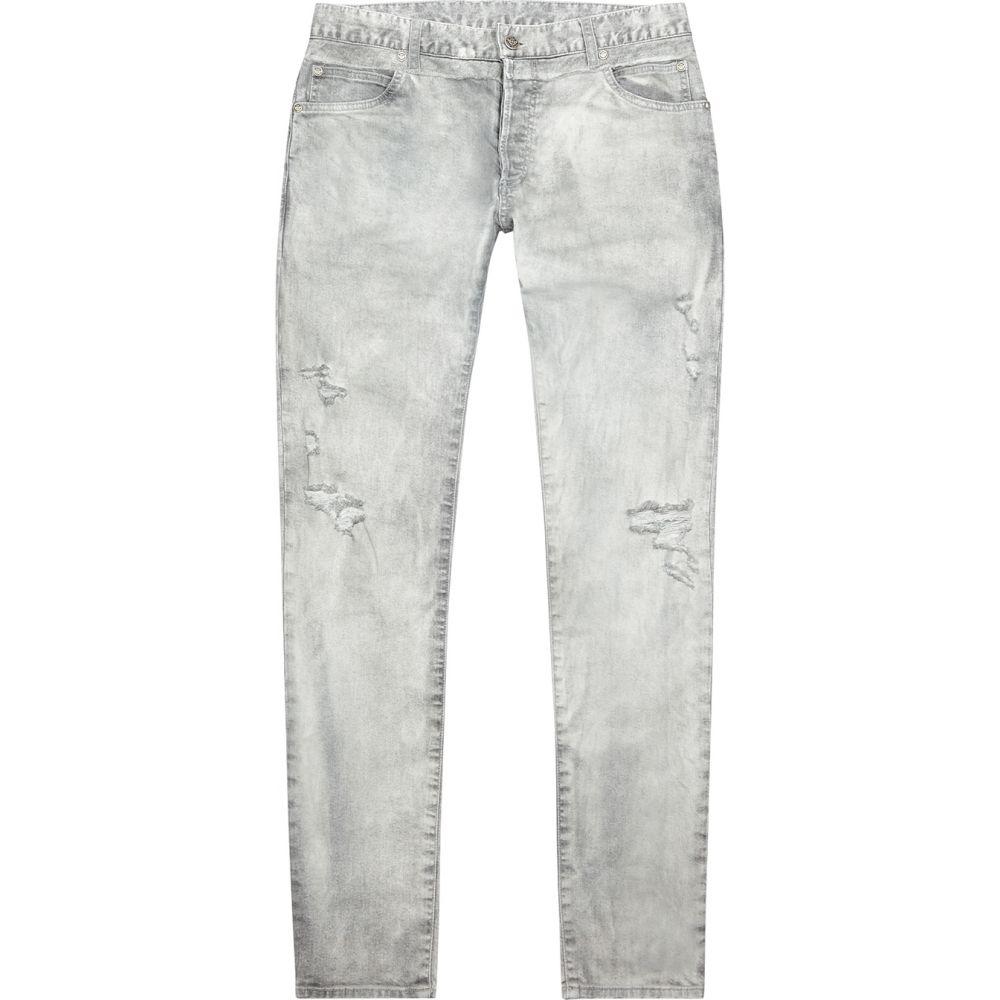 バルマン Balmain メンズ ジーンズ・デニム ボトムス・パンツ【Pale Grey Distressed Slim-Leg Jeans】Grey