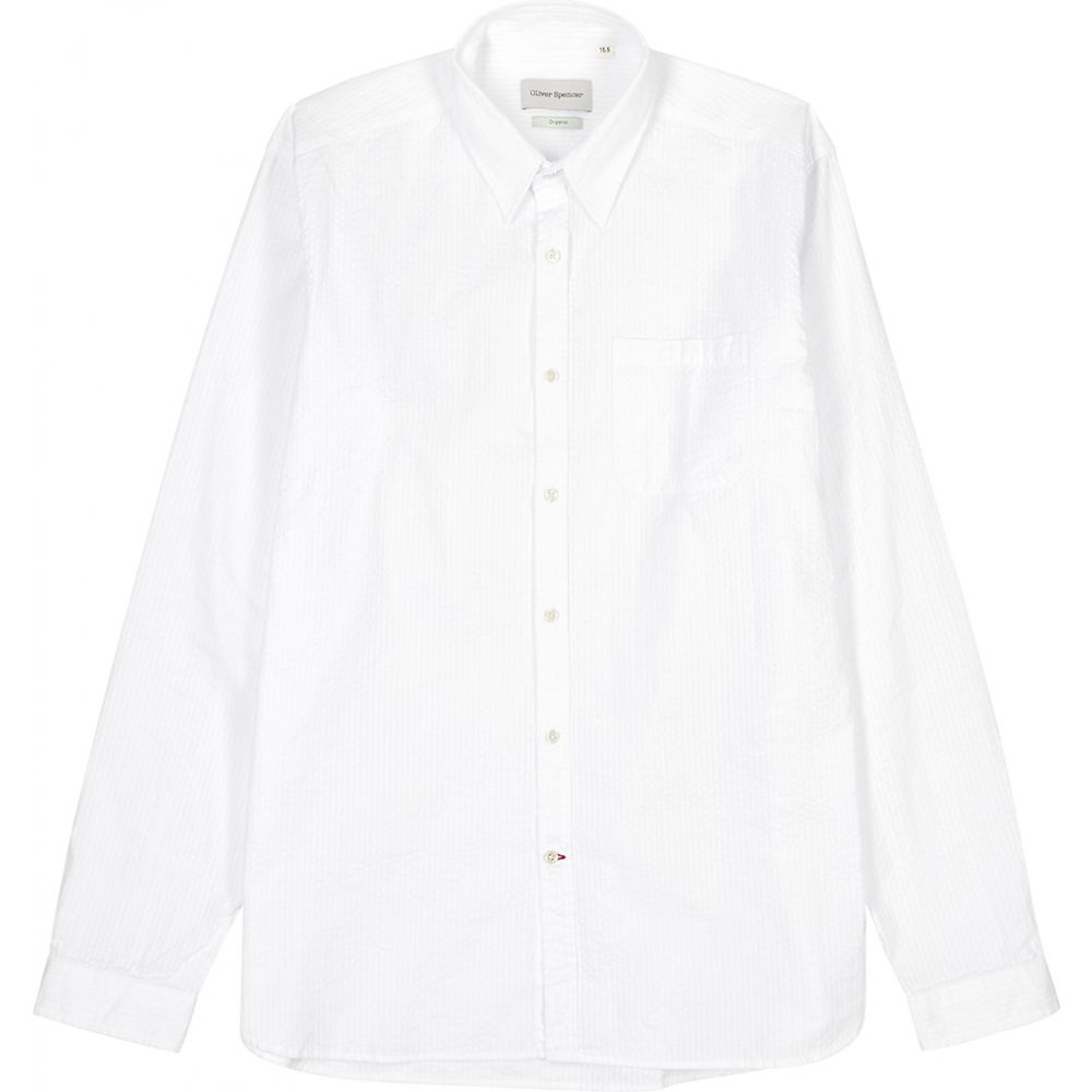 オリバー スペンサー Oliver Spencer メンズ シャツ トップス【New York Special White Seersucker Shirt】White