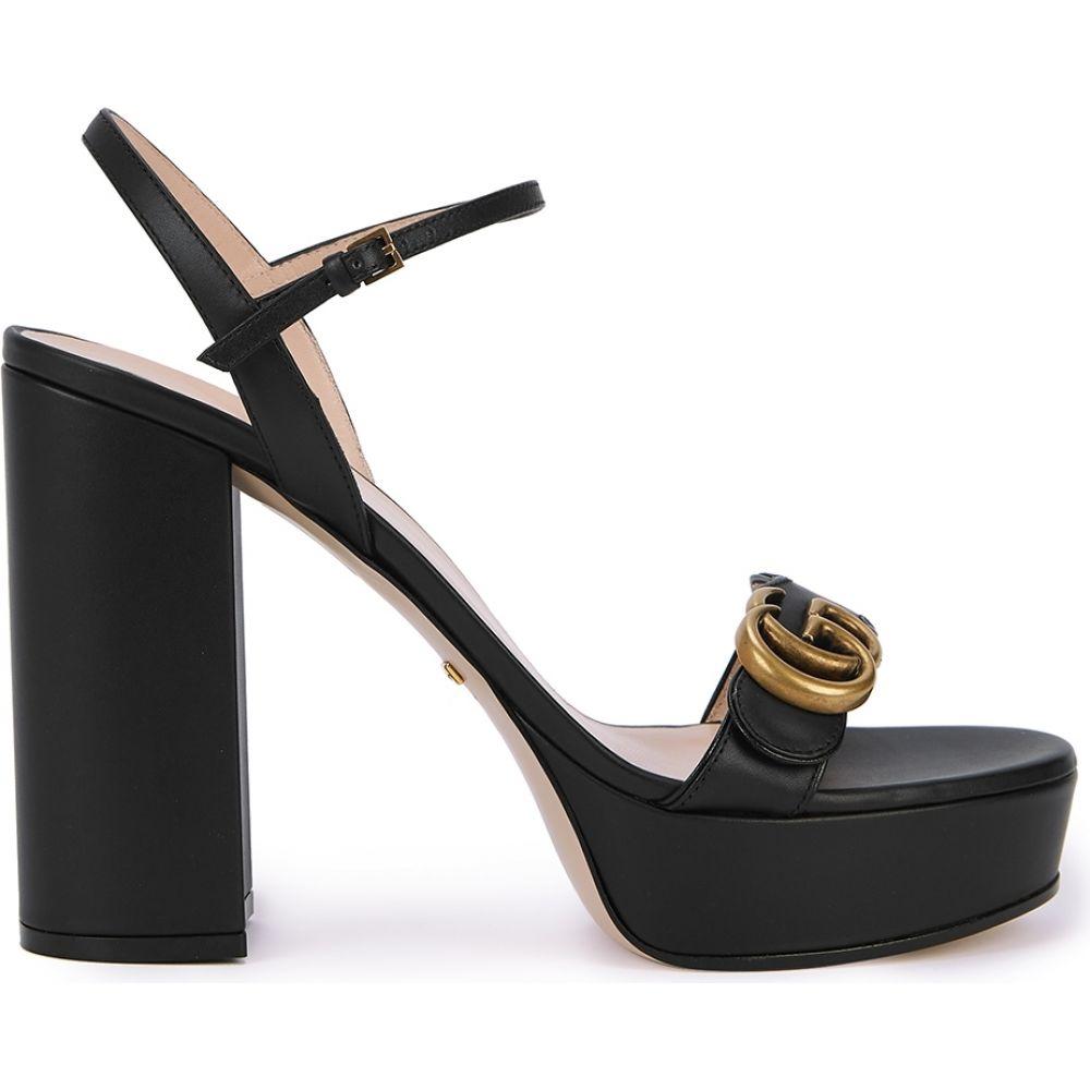 グッチ Gucci レディース サンダル・ミュール シューズ・靴【Gg Marmont 115 Leather Platform Sandals】Black