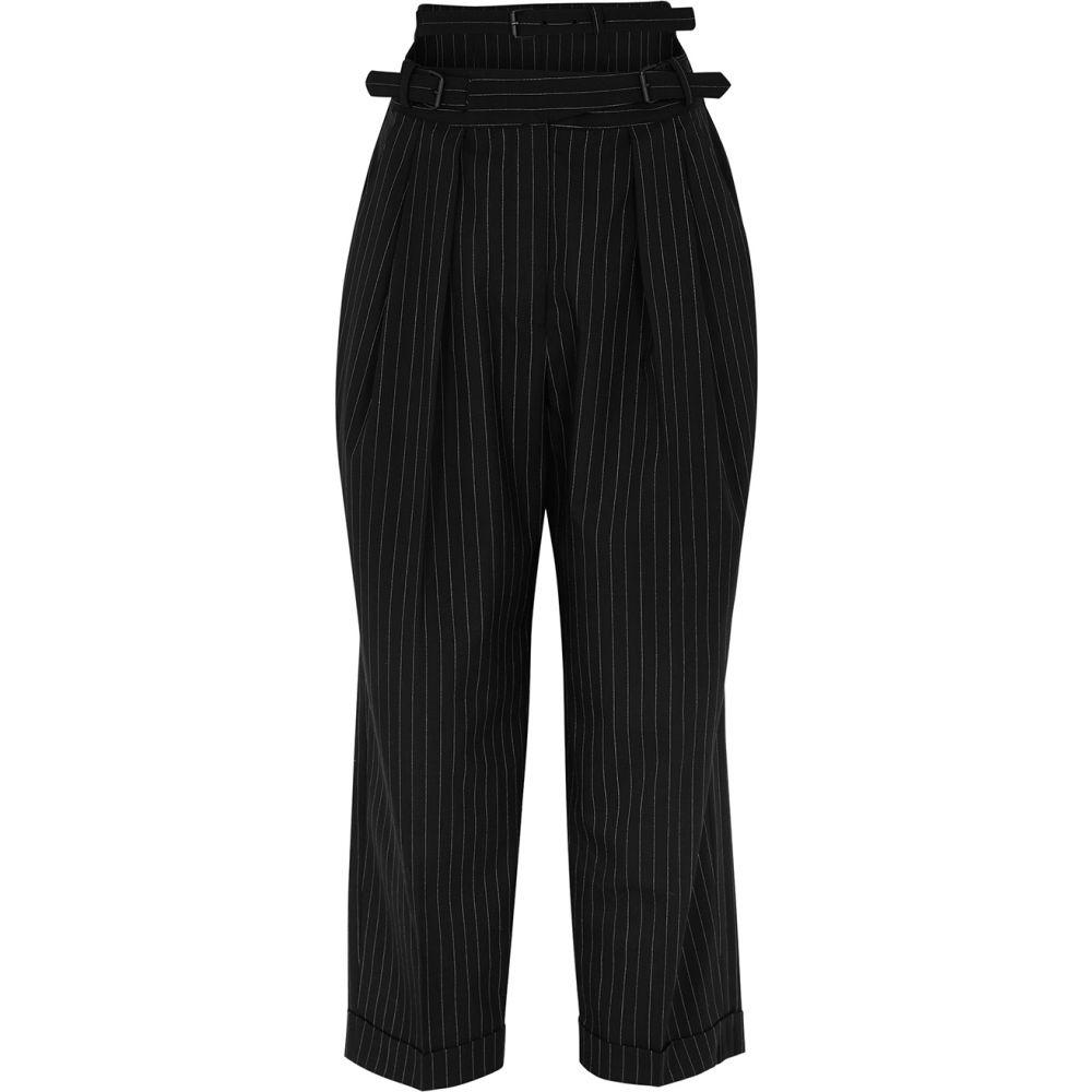 プッシュボタン pushBUTTON レディース クロップド ボトムス・パンツ【Black Pinstripe Wool-Blend Trousers】Black