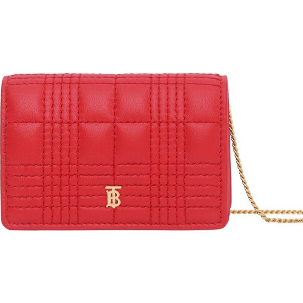 バーバリー Burberry レディース カードケース・名刺入れ カードホルダー【Jessie Red Leather Card Holder With Chain】Red