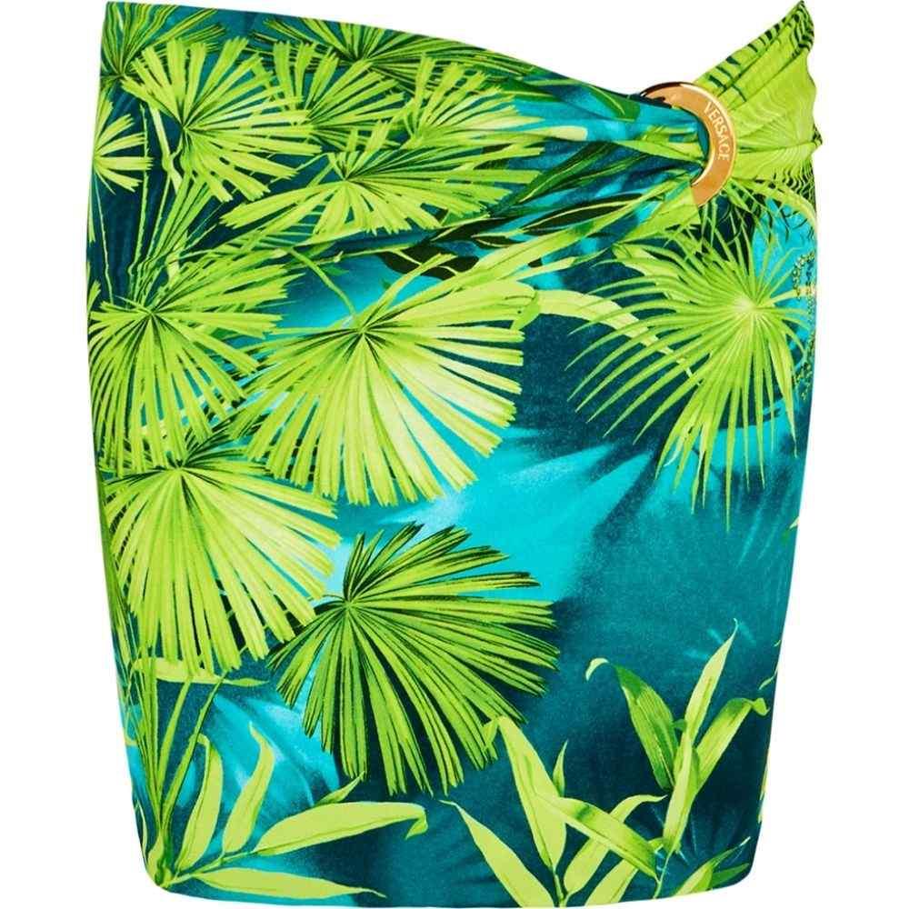 ヴェルサーチ Versace レディース ミニスカート スカート【Green Palm-Print Mini Skirt】Green