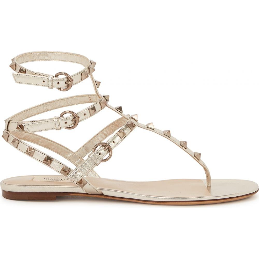 ヴァレンティノ Valentino レディース サンダル・ミュール シューズ・靴【Garavani Rockstud Gold Leather Sandals】Gold