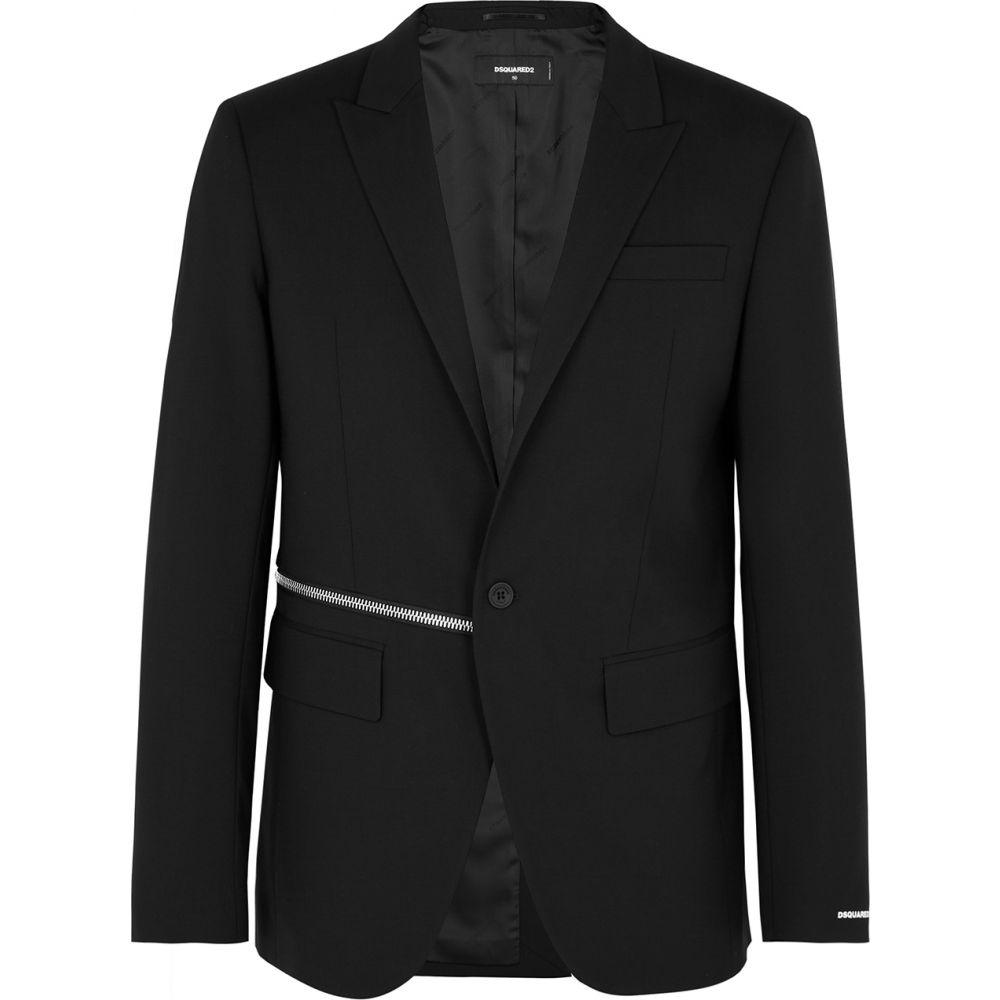 ディースクエアード Dsquared2 メンズ スーツ・ジャケット アウター【Black Zip-Embellished Wool Blazer】Black