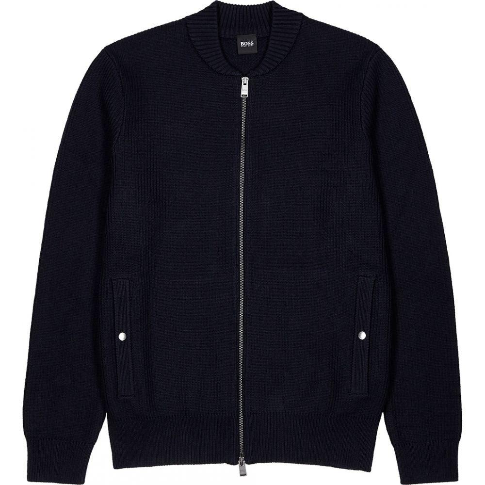 ヒューゴ ボス BOSS メンズ カーディガン トップス【Navy Chunky-Knit Cotton-Blend Cardigan】Navy