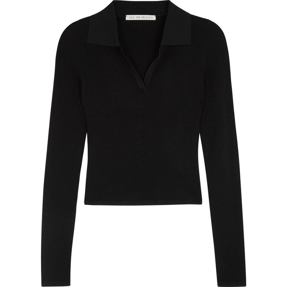 ライブ ザ プロセス Live The Process レディース ポロシャツ トップス【Black Knitted Jersey Polo Shirt】Black