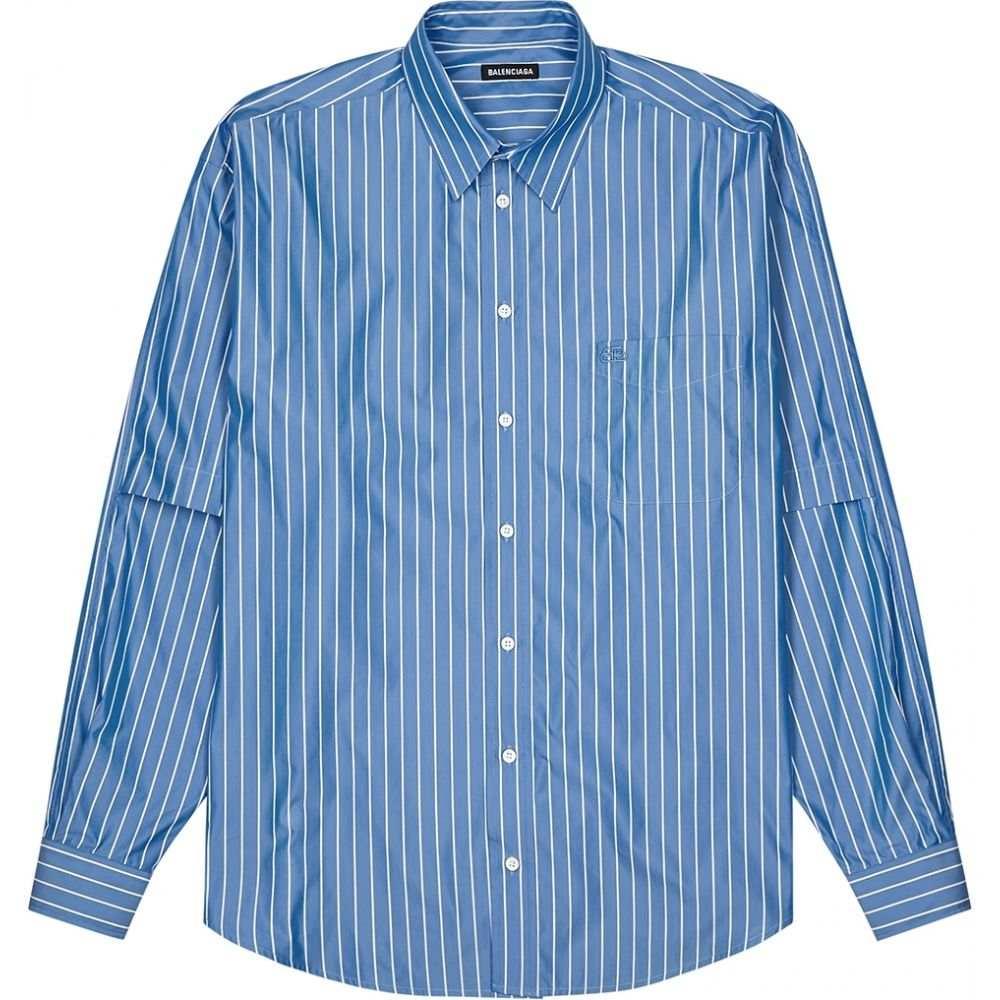 バレンシアガ Balenciaga メンズ シャツ トップス【Blue Striped Cotton Shirt】Blue