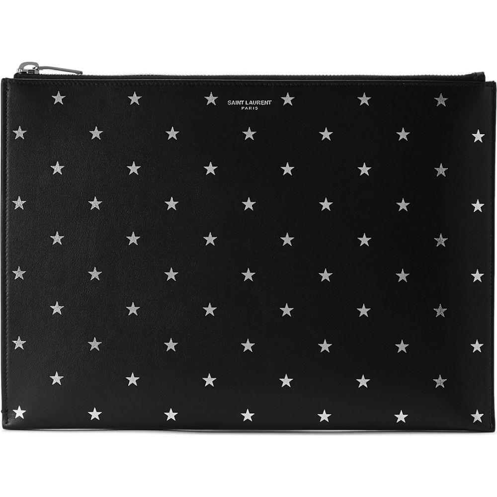 イヴ サンローラン Saint Laurent メンズ カードケース・名刺入れ 【Black Star-Print Leather Pouch】Black