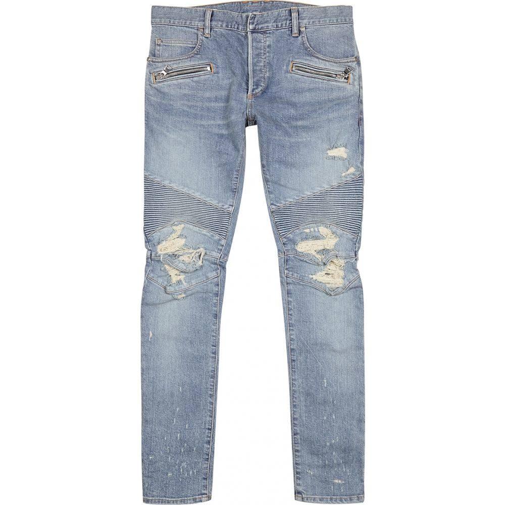 バルマン Balmain メンズ ジーンズ・デニム ボトムス・パンツ【Light Blue Distressed Skinny Biker Jeans】Blue