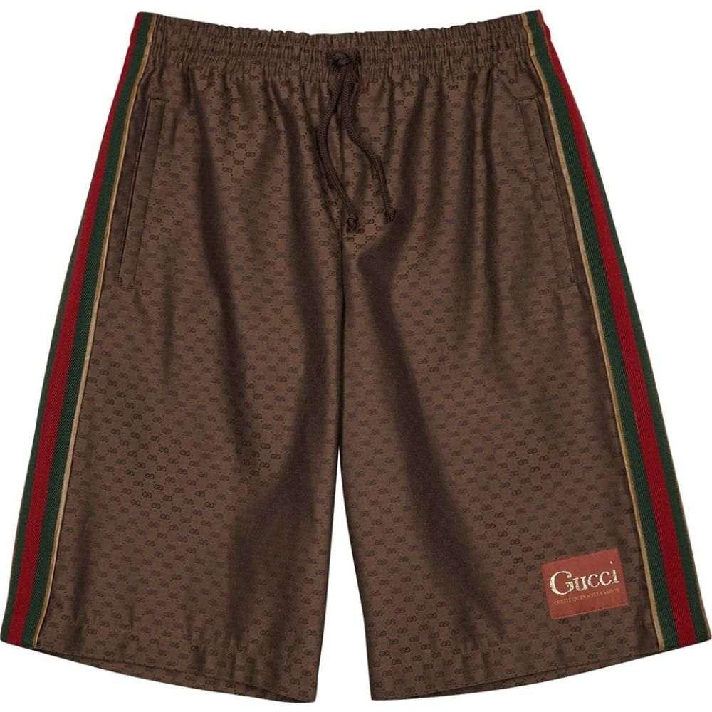 グッチ Gucci メンズ ショートパンツ ボトムス・パンツ【Gg Brown Striped Jacquard Shorts】Brown