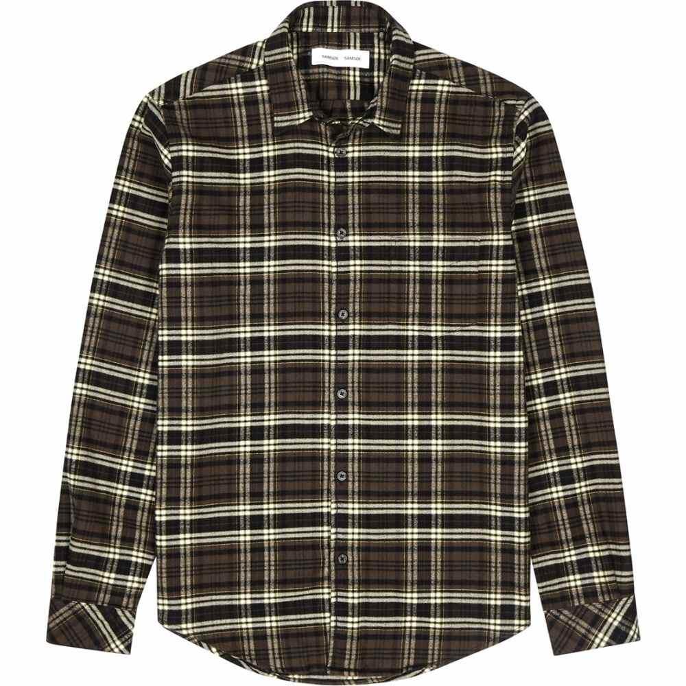 サムソエ&サムソエ Samsoe & Samsoe メンズ シャツ トップス【Liam Brown Checked Brushed Cotton Shirt】Brown
