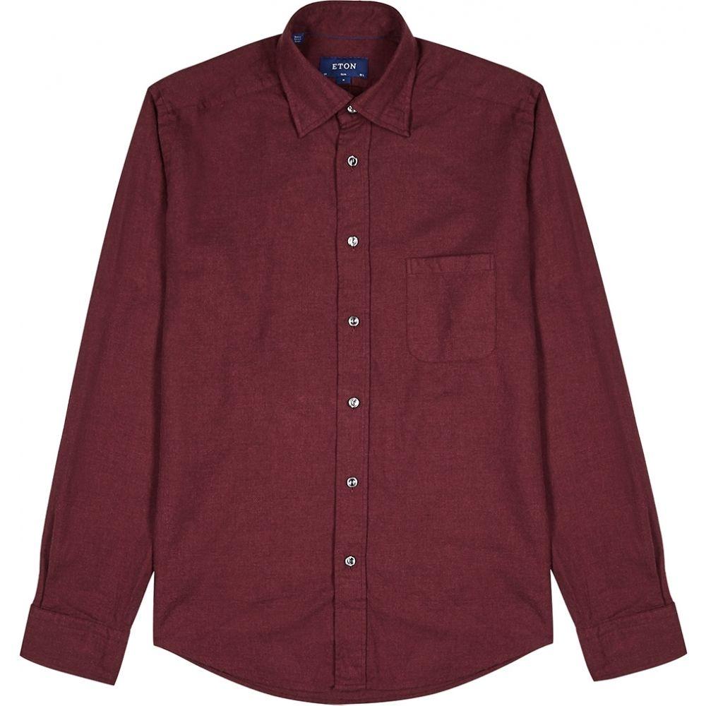 イートン Eton メンズ シャツ トップス【Burgundy Brushed Cotton Shirt】Red