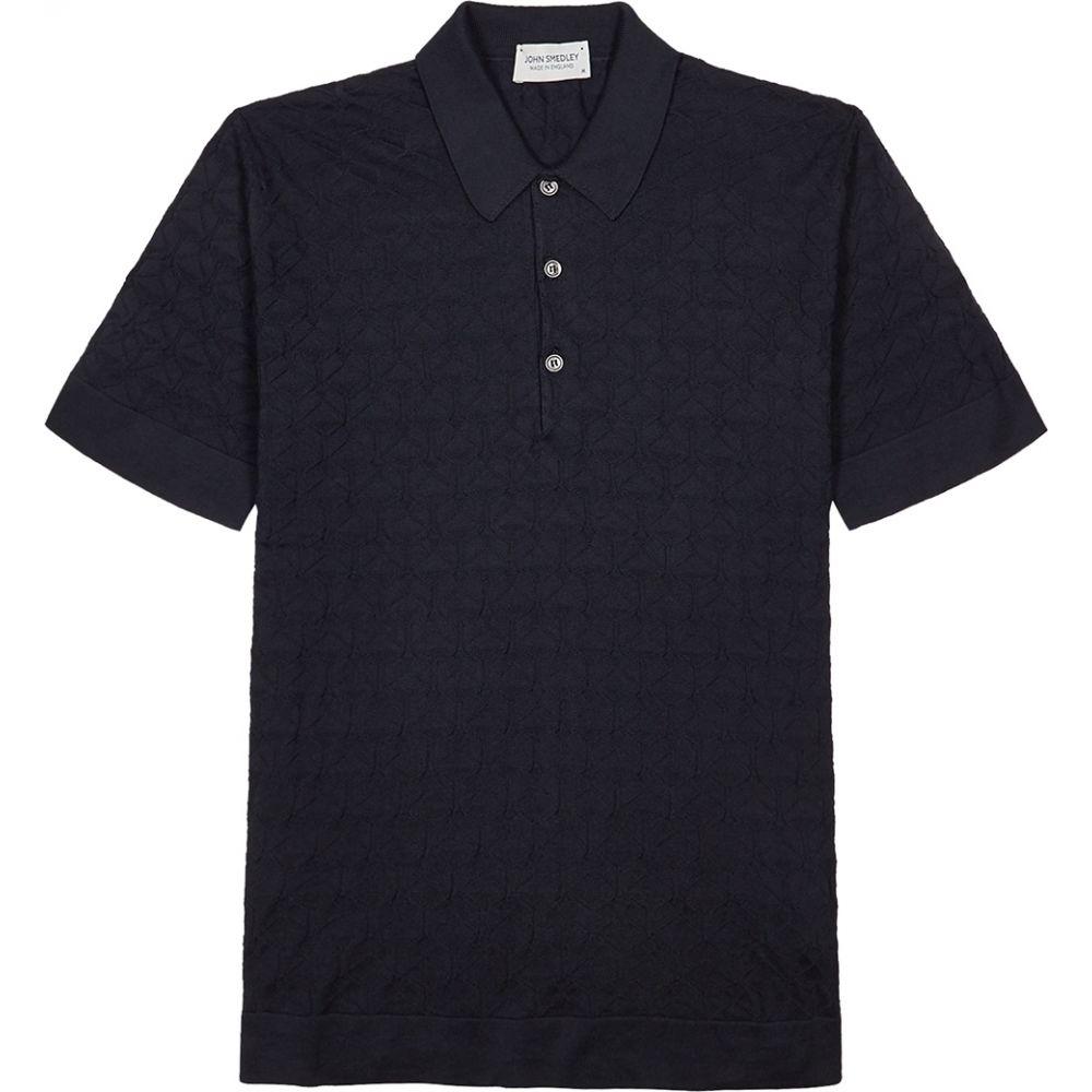 ジョンスメドレー John Smedley メンズ ポロシャツ トップス【Forestry Textured-Knit Cotton Polo Shirt】Navy