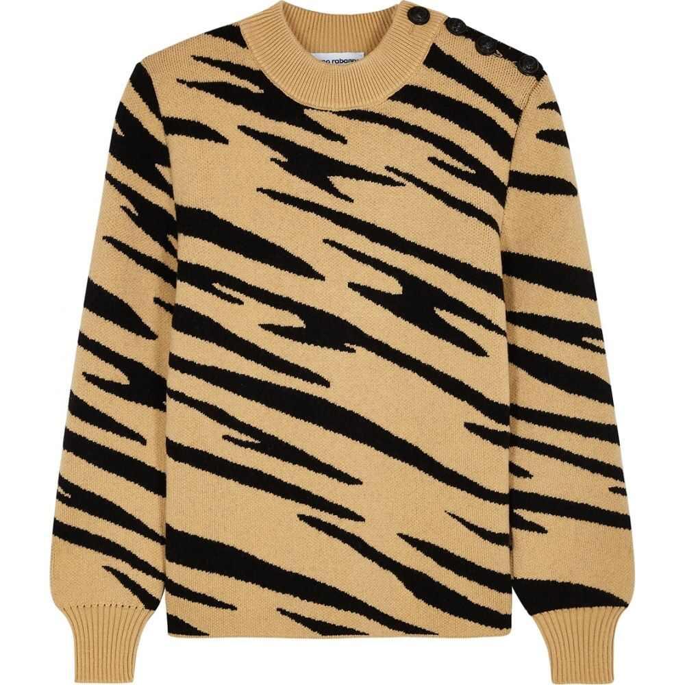 パコラバンヌ Paco Rabanne レディース ニット・セーター トップス【Camel Tiger-Intarsia Wool Jumper】Natural