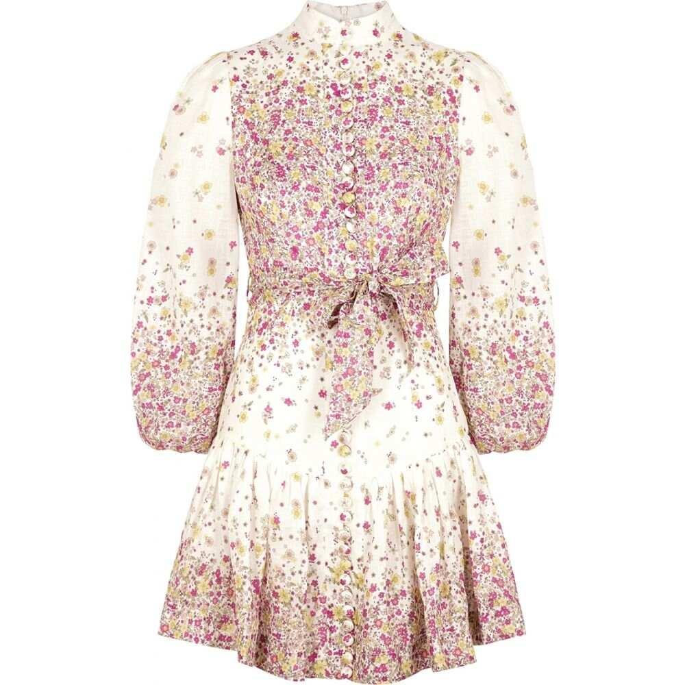 ジマーマン Zimmermann レディース ワンピース ミニ丈 ワンピース・ドレス【Carnaby Floral-Print Linen Mini Dress】Natural