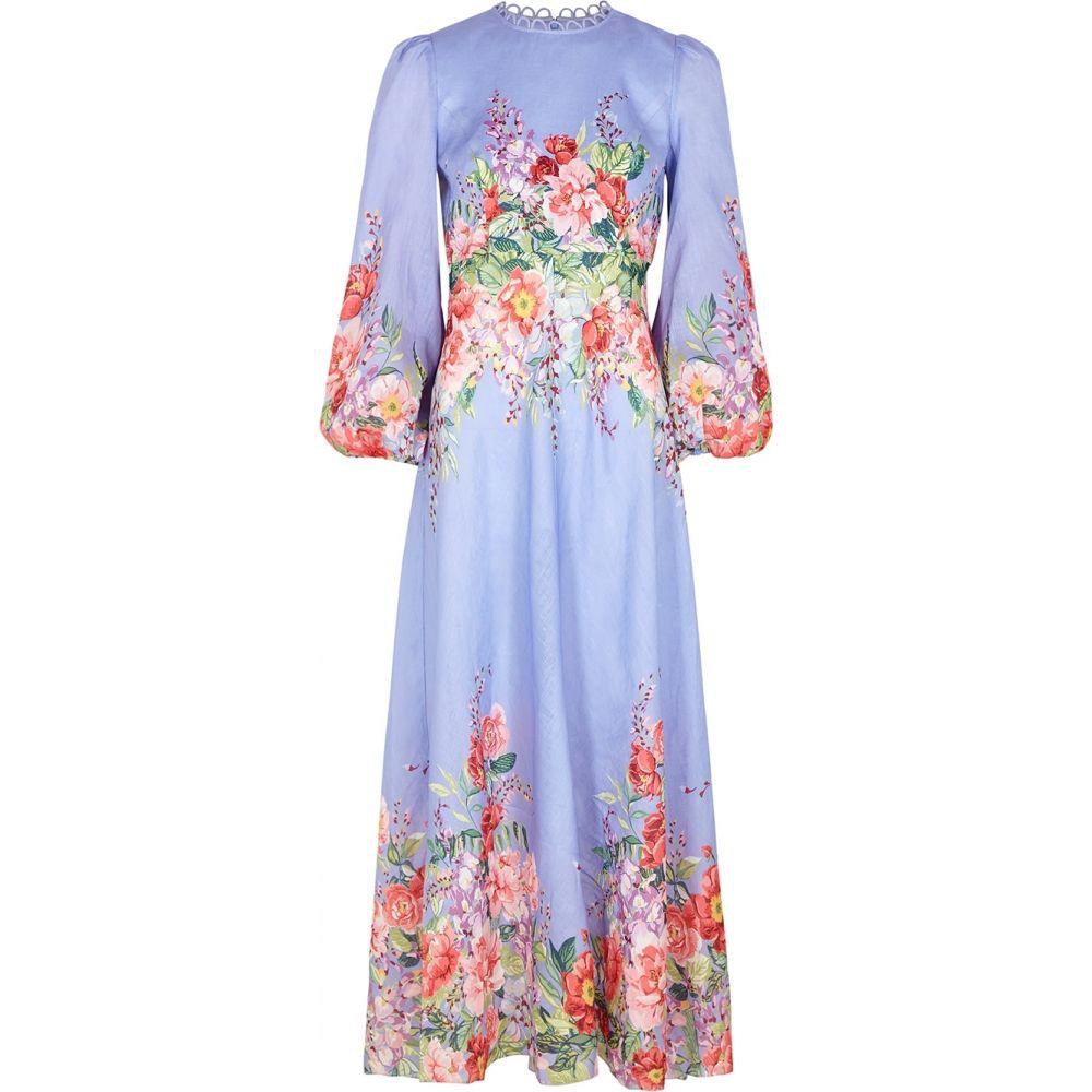 ジマーマン Zimmermann レディース ワンピース マキシ丈 ワンピース・ドレス【Bellitude Floral-Print Linen Maxi Dress】Blue