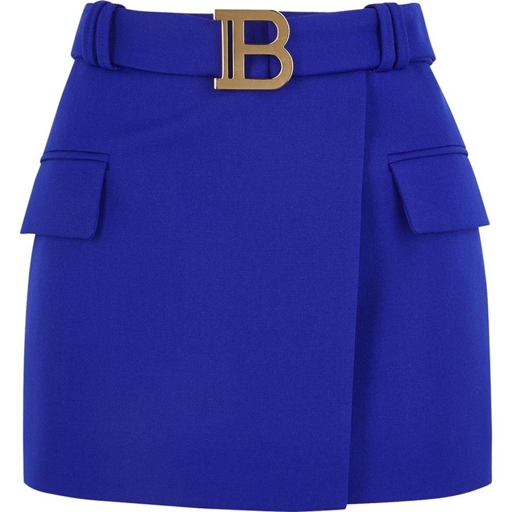 バルマン Balmain レディース ミニスカート スカート【Cobalt Blue Wool Mini Skirt】Blue
