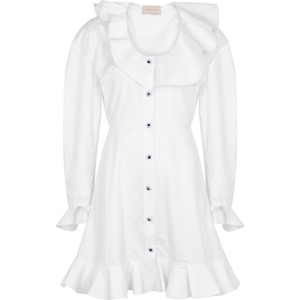 クリストファー ケイン Christopher Kane レディース ワンピース シャツワンピース ワンピース・ドレス【White Ruffle-Trimmed Shirt Dress】White