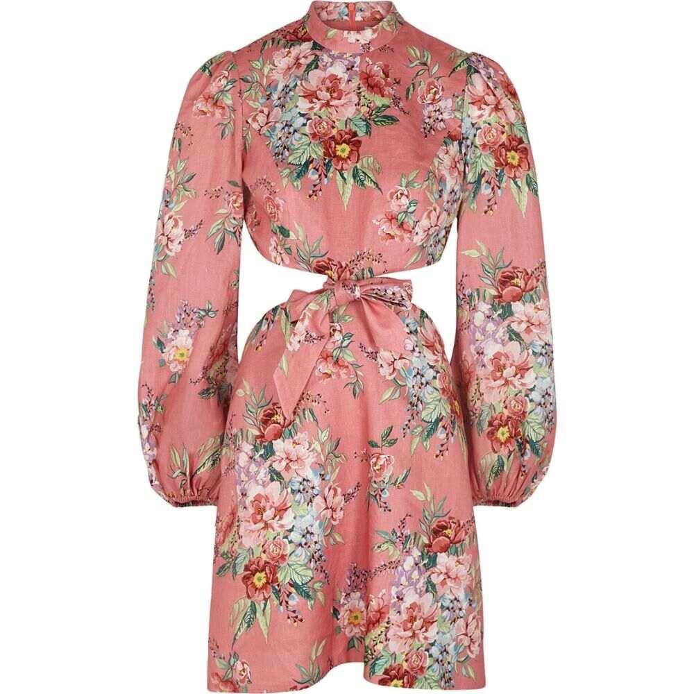 ジマーマン Zimmermann レディース ワンピース ミニ丈 ワンピース・ドレス【Bellitude Floral-Print Linen Mini Dress】Pink