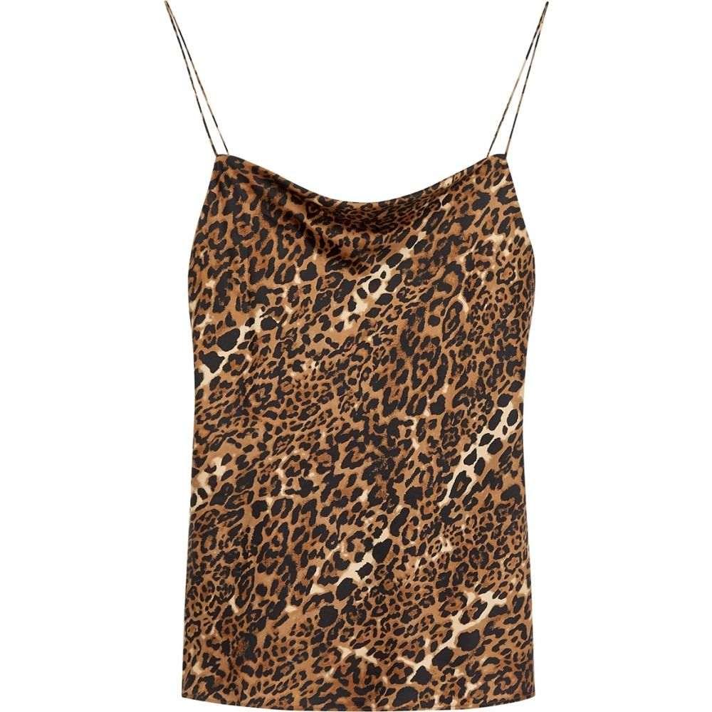カミニューヨークシティー Cami NYC レディース ノースリーブ トップス【The Axel Leopard-Print Stretch-Silk Top】Brown