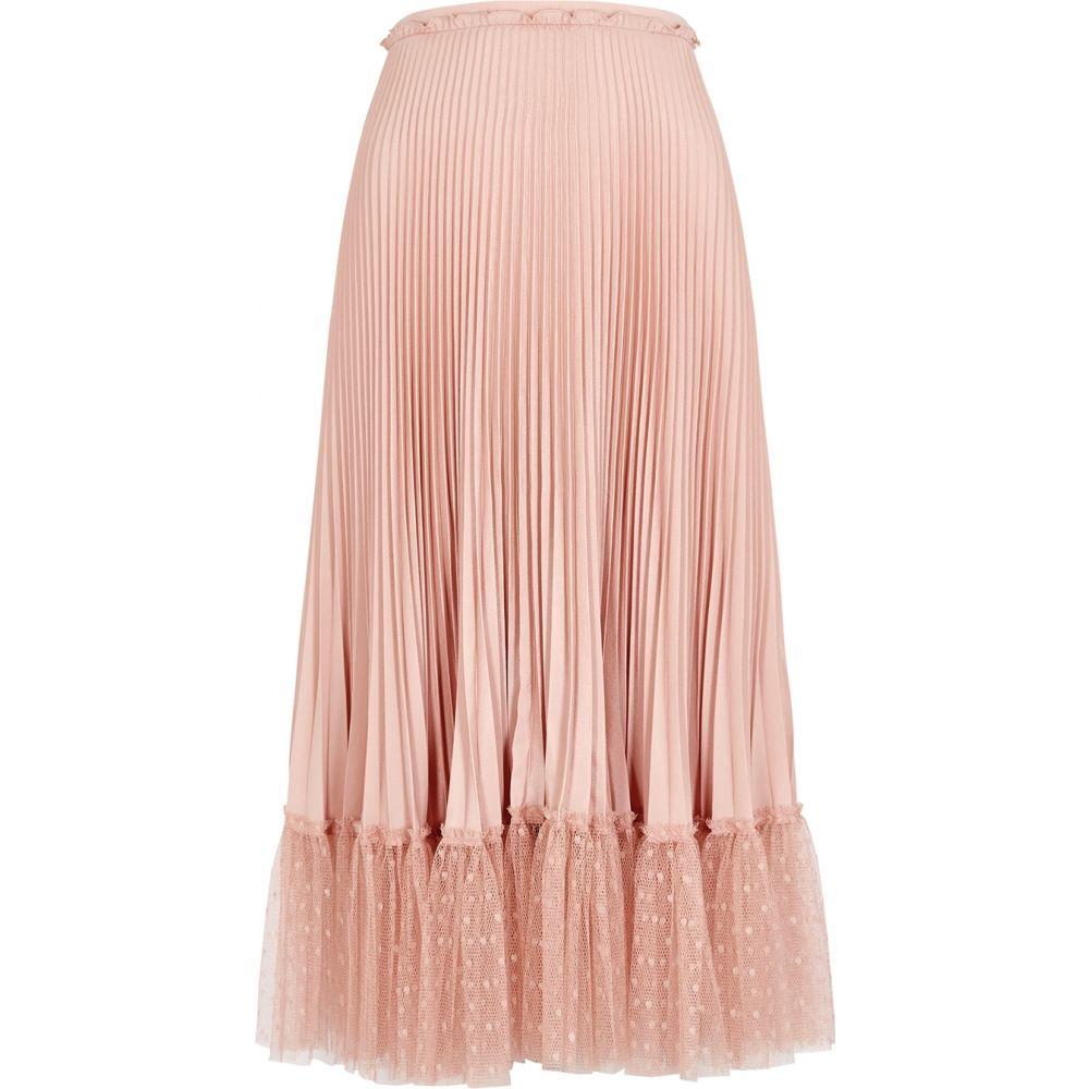 ヴァレンティノ RED Valentino レディース ひざ丈スカート スカート【Blush Point D'Esprit-Trimmed Pleated Midi Skirt】Pink