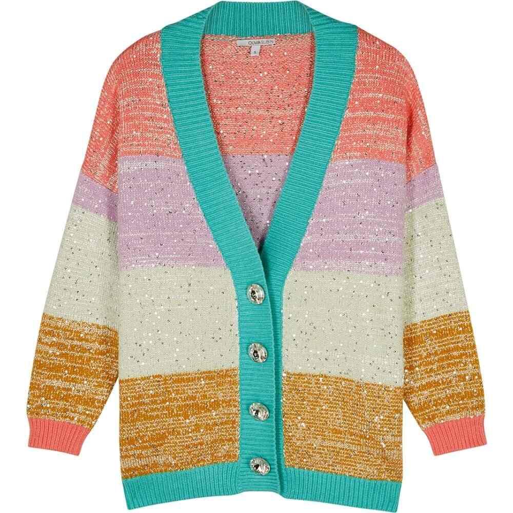 オリビアルービン Olivia Rubin レディース カーディガン トップス【Cecily Striped Sequin-Embellished Cardigan】Multi
