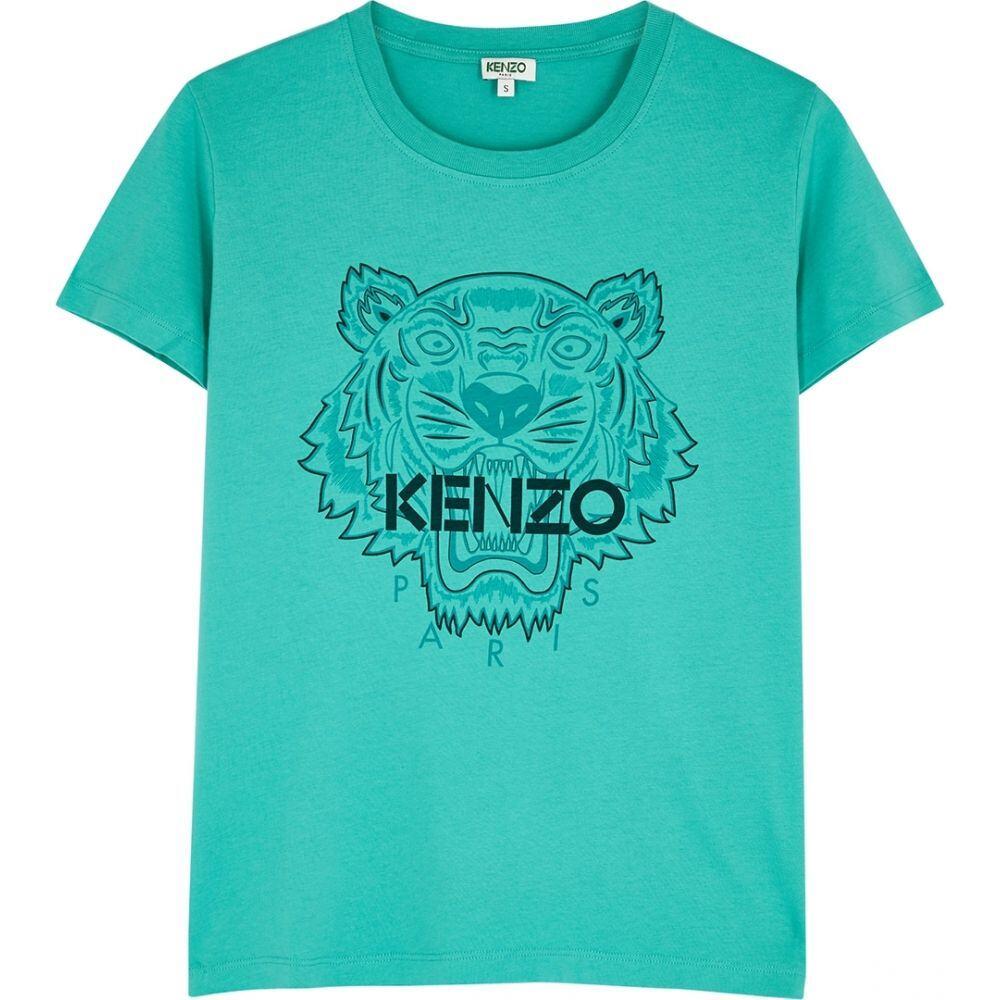 ケンゾー Kenzo レディース Tシャツ トップス【Turquoise Tiger-Print Cotton T-Shirt】Green