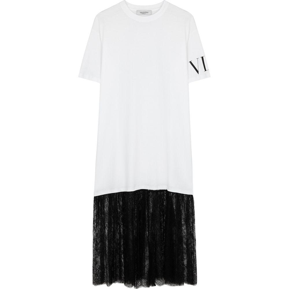 ヴァレンティノ Valentino レディース ワンピース Tシャツワンピース ワンピース・ドレス【White Cotton And Lace T-Shirt Dress】White