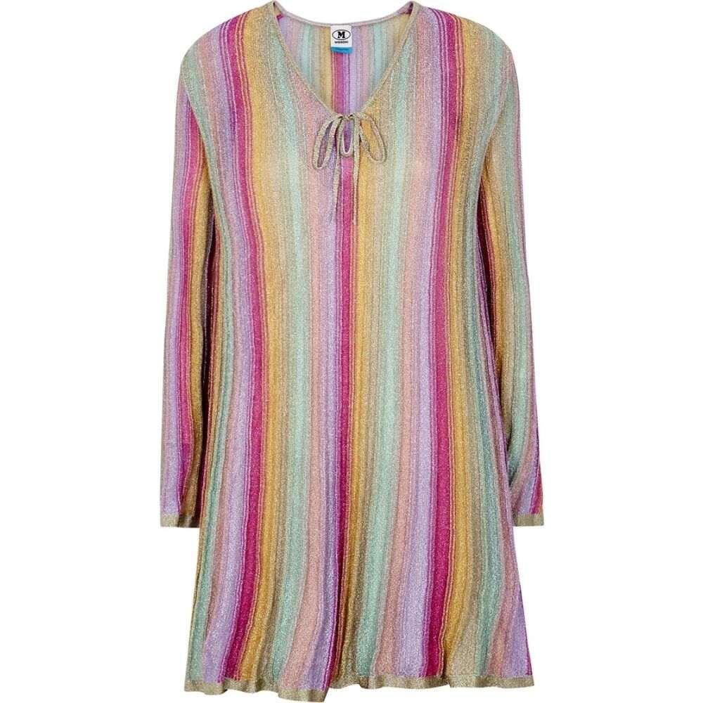 ミッソーニ M Missoni レディース ワンピース ミニ丈 ワンピース・ドレス【Striped Metallic-Weave Mini Dress】Multi