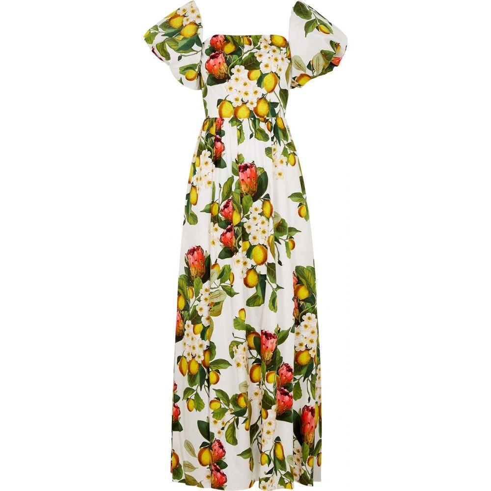 ノア ド ボルゴ Borgo de Nor レディース ワンピース マキシ丈 ワンピース・ドレス【Juliet Floral-Print Cotton Maxi Dress】White