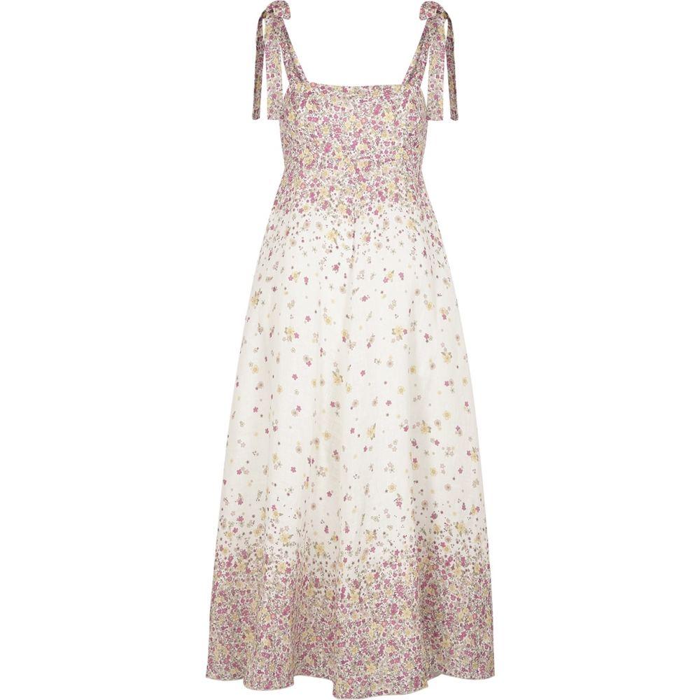 ジマーマン Zimmermann レディース ワンピース ミドル丈 ワンピース・ドレス【Carnaby Floral-Print Linen Midi Dress】Natural