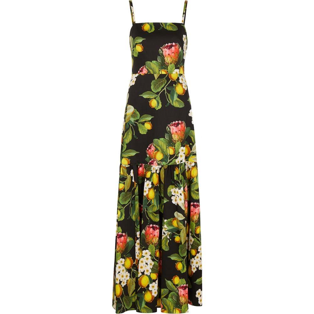 ノア ド ボルゴ Borgo de Nor レディース ワンピース マキシ丈 ワンピース・ドレス【Cordelia Floral-Print Cotton Maxi Dress】Black