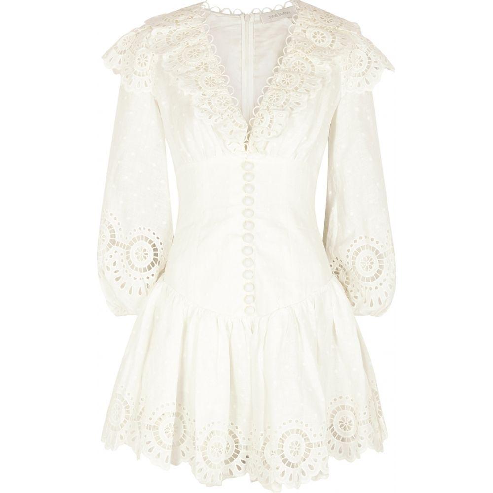 ジマーマン Zimmermann レディース ワンピース ミニ丈 ワンピース・ドレス【Bellitude White Embroidered Linen Mini Dress】Natural