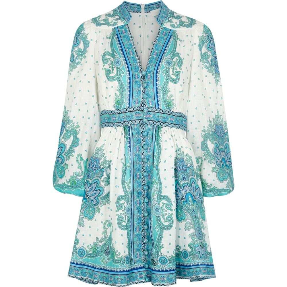 ジマーマン Zimmermann レディース ワンピース ミニ丈 ワンピース・ドレス【Bells Printed Linen Mini Dress】Blue