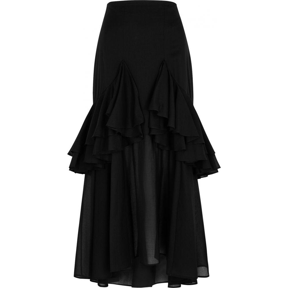 トーテム Toteme レディース ひざ丈スカート スカート【Coja Ruffled-Trimmed Cotton Midi Skirt】Black