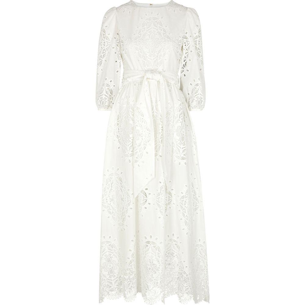 ノア ド ボルゴ Borgo de Nor レディース ワンピース マキシ丈 ワンピース・ドレス【Constance White Lace-Panelled Maxi Dress】White