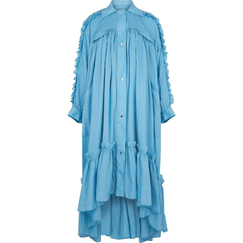 ブローガー Brogger レディース ワンピース ミドル丈 ワンピース・ドレス【Amanda Ruffle-Trimmed Taffeta Midi Dress】Blue