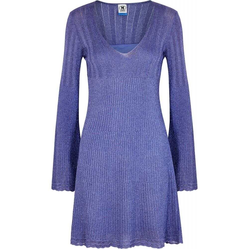 ミッソーニ M Missoni レディース ワンピース ミニ丈 ワンピース・ドレス【Light Blue Metallic-Weave Mini Dress】Blue