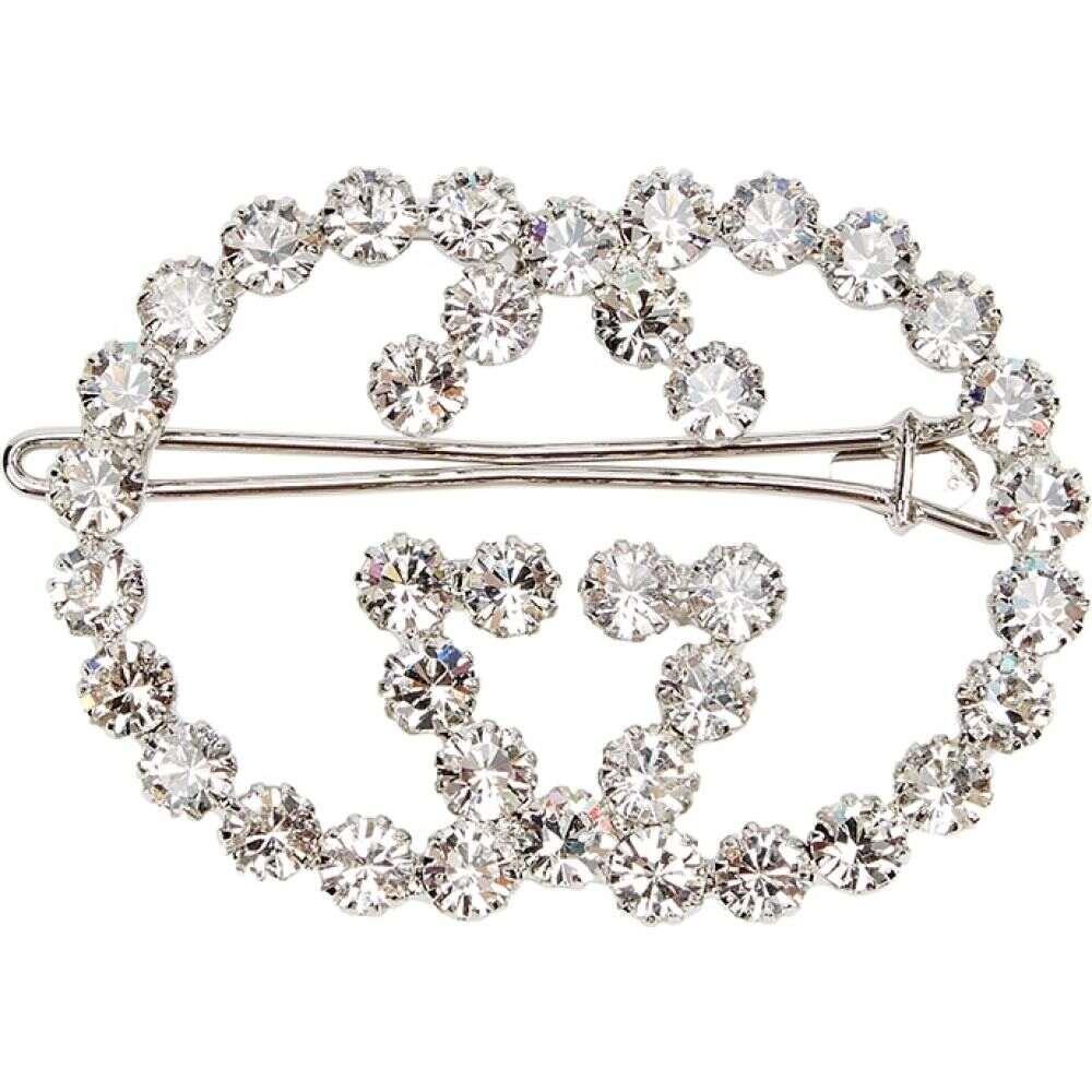 グッチ Gucci レディース ヘアアクセサリー ヘアクリップ【Gg Crystal-Embellished Hair Clip】Silver