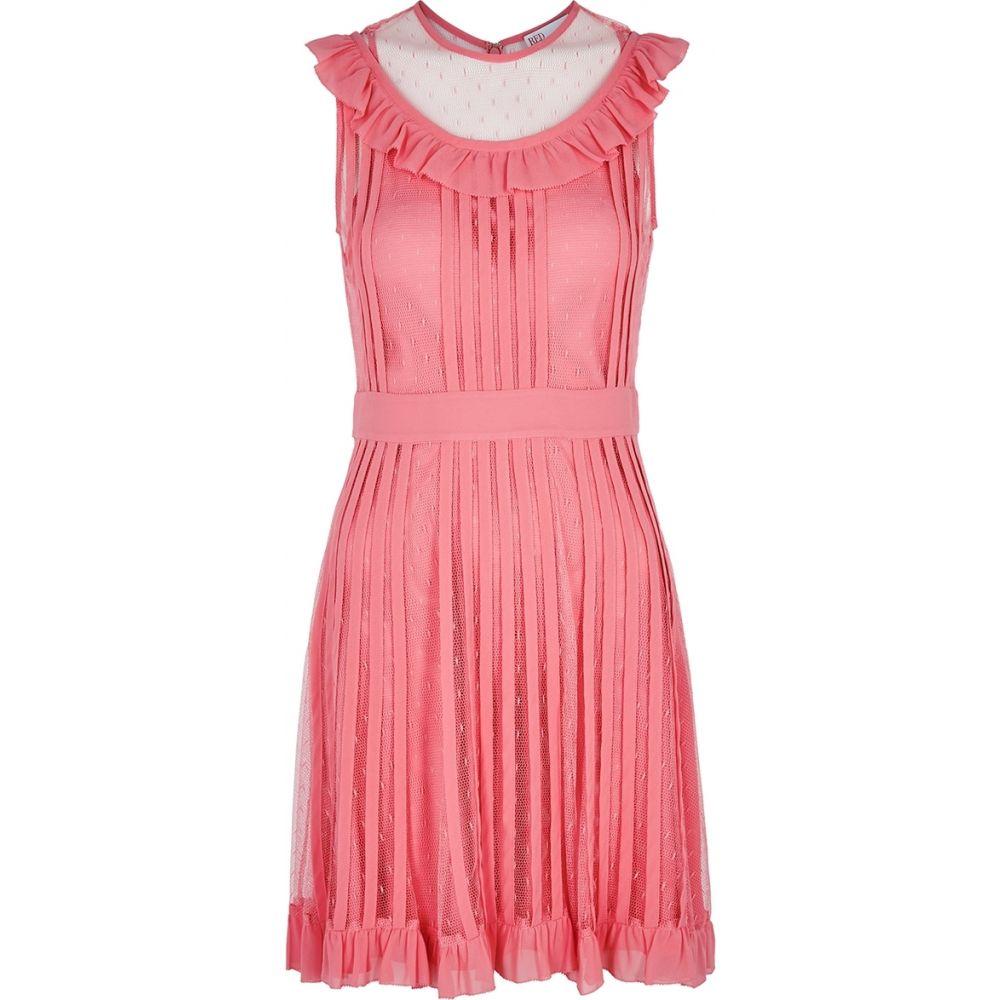ヴァレンティノ RED Valentino レディース ワンピース ミニ丈 ワンピース・ドレス【Pink Ruffle-Trimmed Point D'Esprit Mini Dress】Pink
