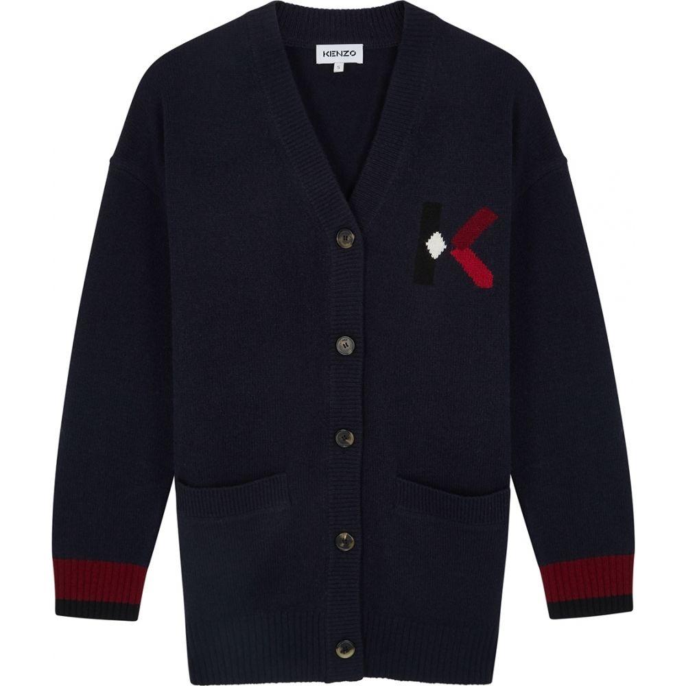 ケンゾー Kenzo レディース カーディガン トップス【Navy Logo Wool-Blend Cardigan】Navy