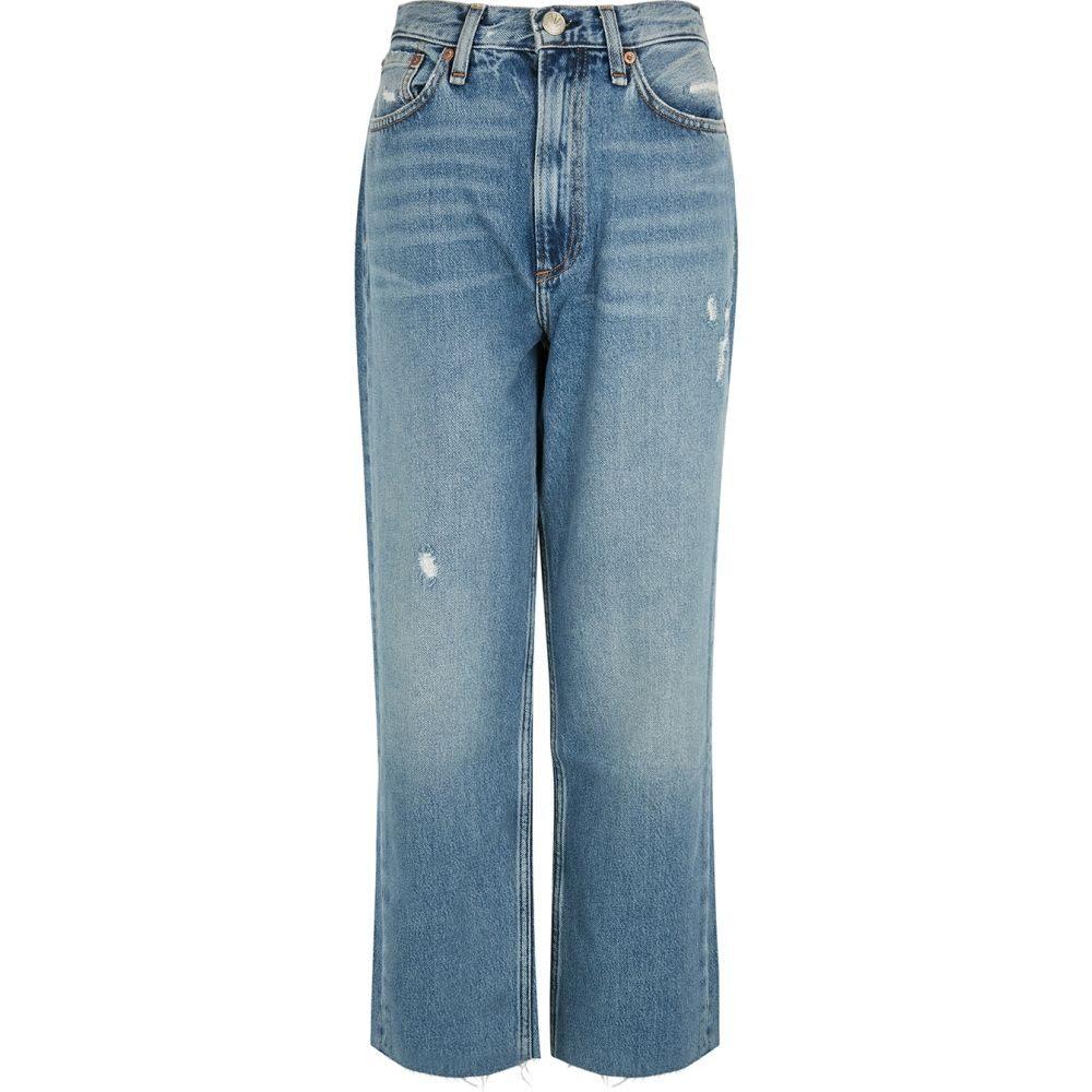 ラグ&ボーン rag & bone レディース ジーンズ・デニム ボトムス・パンツ【Ruth Blue Distressed Straight-Leg Jeans】Blue