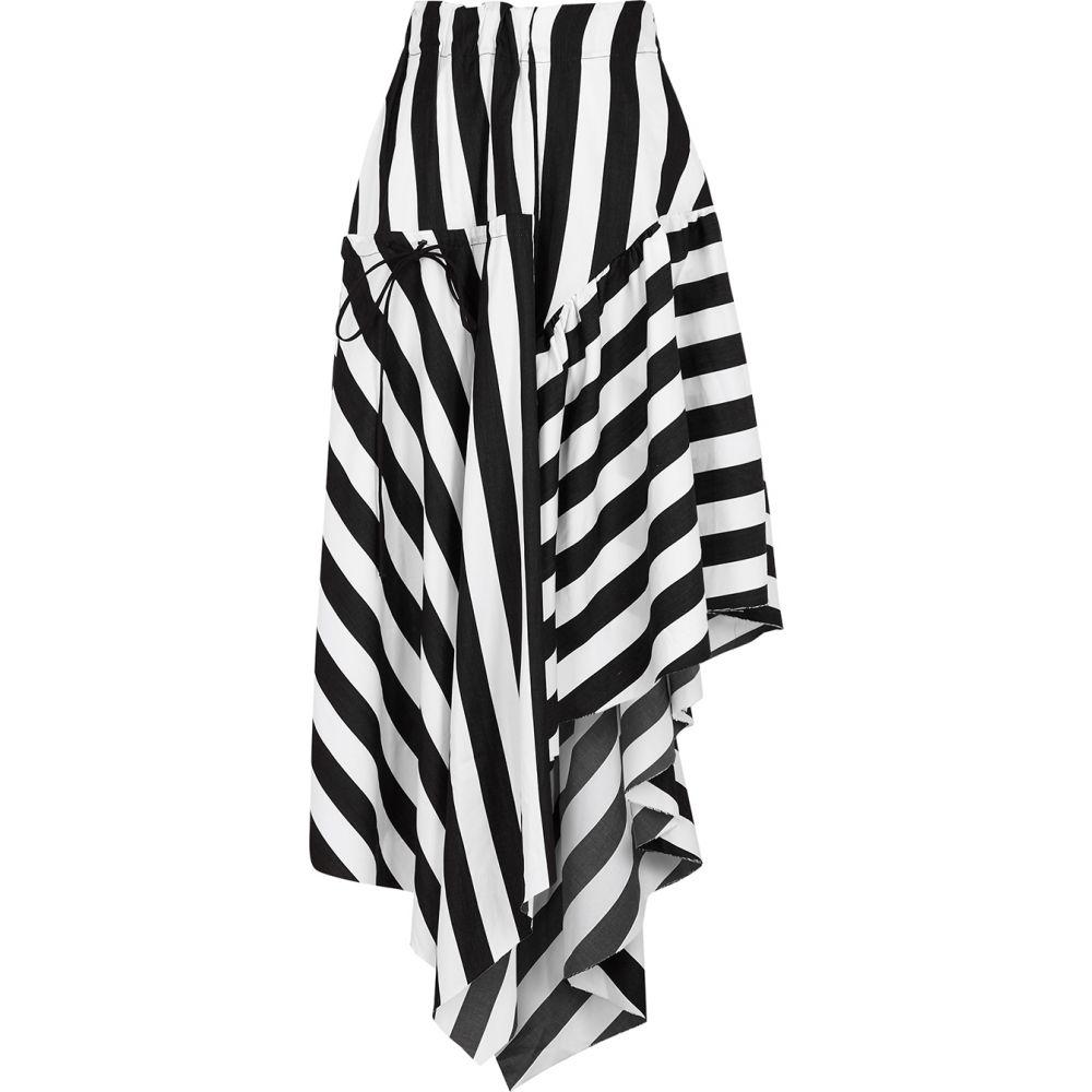 マルケス アルメイダ MARQUES ALMEIDA レディース ひざ丈スカート スカート【Monochrome Striped Cotton Midi Skirt】Black