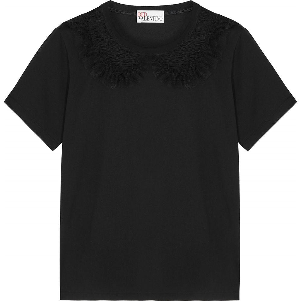 ヴァレンティノ RED Valentino レディース Tシャツ トップス【Black Point D'Esprit And Cotton T-Shirt】Black