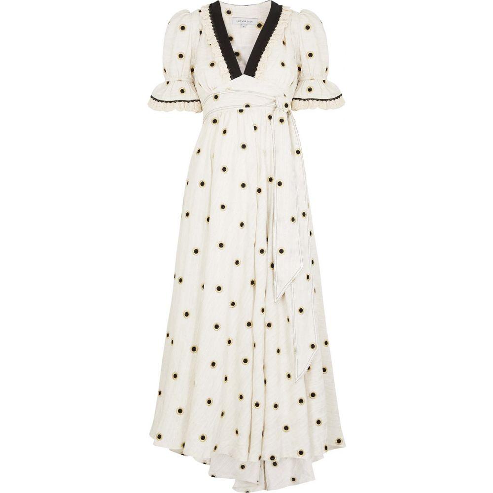 LUG VON SIGA レディース ワンピース マキシ丈 ワンピース・ドレス【Sabrina Embroidered Cotton-Blend Maxi Dress】Natural