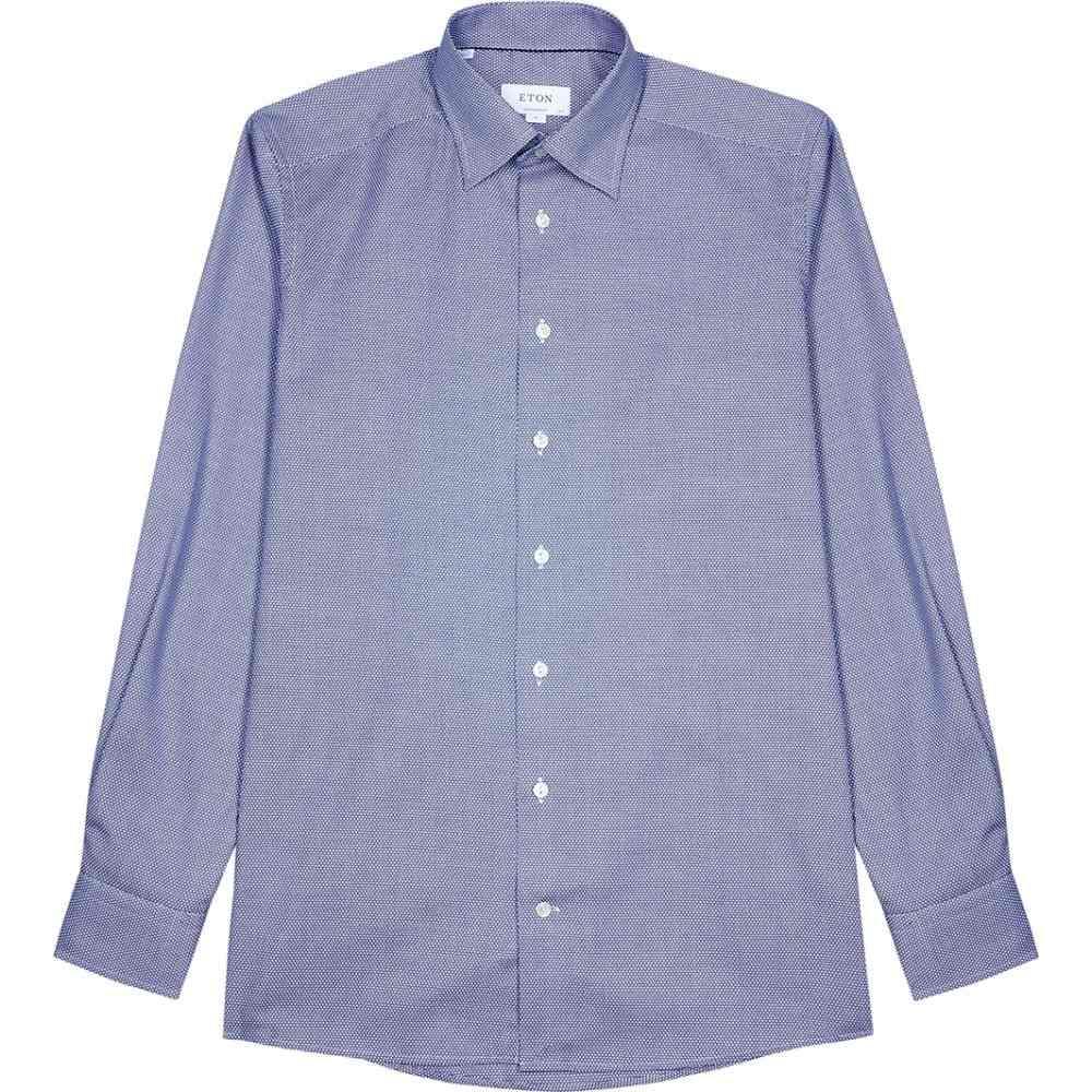 イートン Eton メンズ シャツ トップス【Blue Contemporary Cotton-Jacquard Shirt】Blue