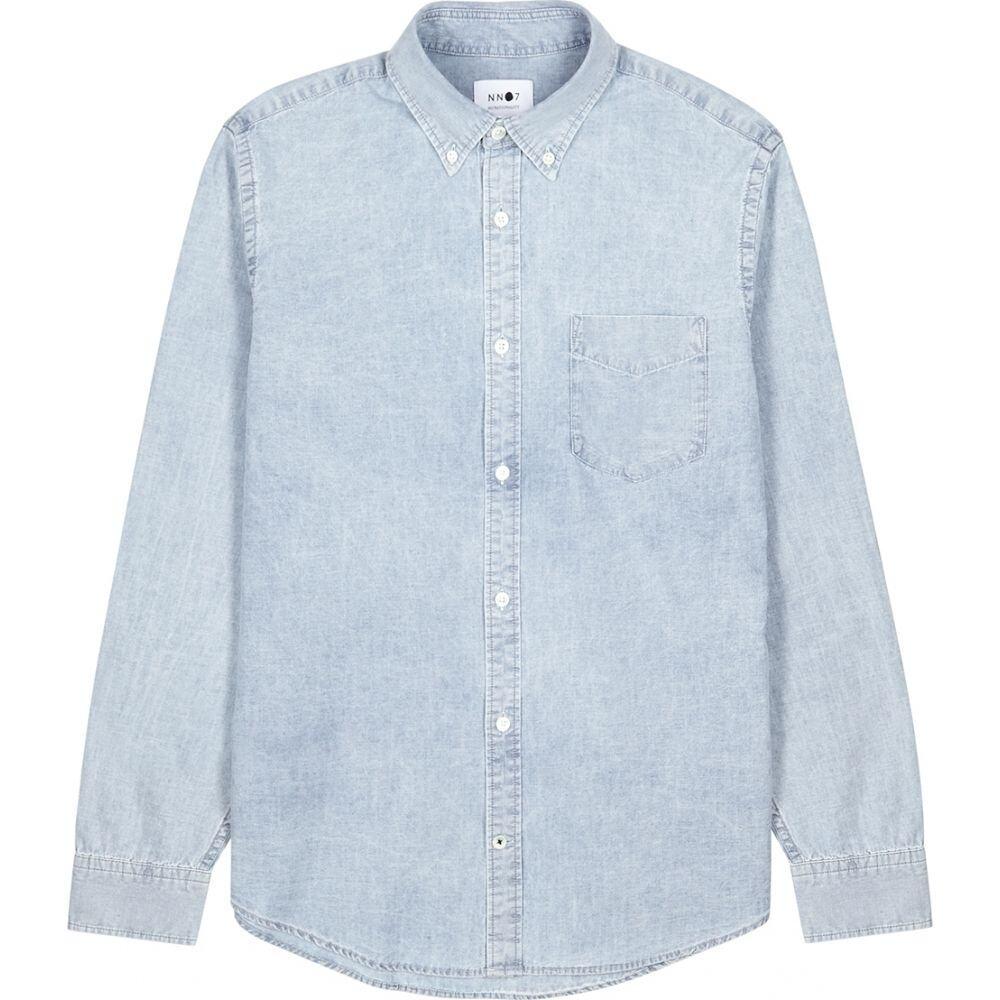 NN07 メンズ シャツ シャンブレーシャツ トップス【Levon Light Blue Chambray Oxford Shirt】Blue