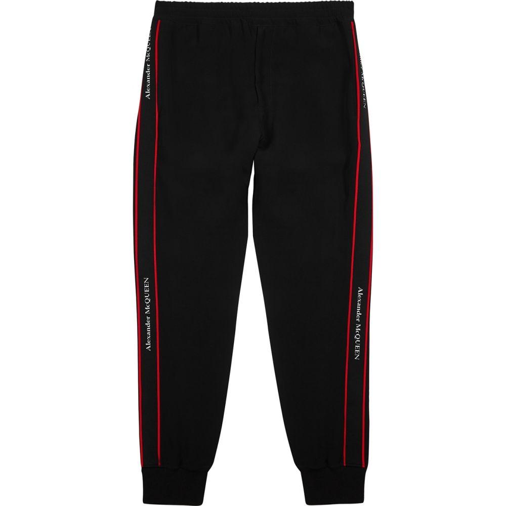 アレキサンダー マックイーン Alexander McQueen メンズ スウェット・ジャージ ボトムス・パンツ【Black Logo-Trimmed Jersey Sweatpants】Black
