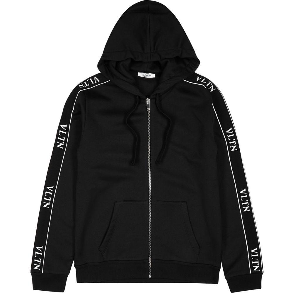 ヴァレンティノ Valentino メンズ パーカー トップス【Vltn Black Hooded Cotton-Blend Sweatshirt】Black